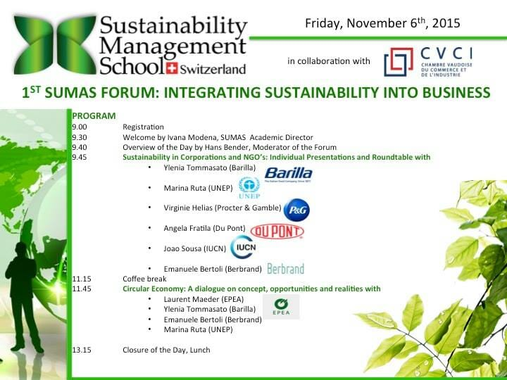 1st SUMAS FORUM: Integrating Sustainability into Business